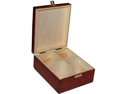Wooden Tea Bag Box 4 Compartments Sections Storage Caddy Chest Organiser (H4MM)