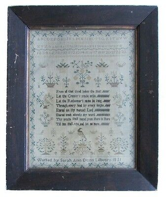 Antique Needlework Sampler Alphabet Verse Schoolgirl Signed Dated 1811