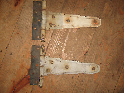 2 Antique  Door Barn Hinge Hardware T strap Rusty patina