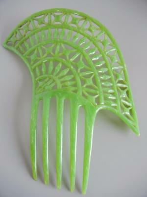 Vintage Art Deco Green Celluloid Hair Comb Large 7""