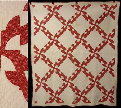 Vintage Hand Stitched Primitive Red & White Drunkards Path Quilt Coverlet Spread