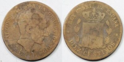 (R1) 10 Centimos 1877 Alfonso Xii
