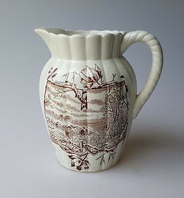 Victorian Aesthetic period brown transferware pitcher harvest scene H mark