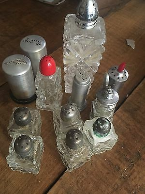 Vintage Miscellaneous Lot of Salt Pepper Shakers Cut Pressed Glass Metal Japan