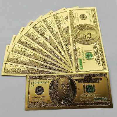 10pcs US$100 dollar 24k Gold Foil USD Paper Money Banknotes Crafts Gifts YO