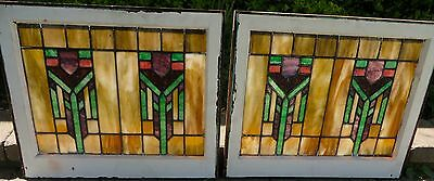 Pair Antique Prairie Style Craftsman Stained Leaded Glass Windows c1910s