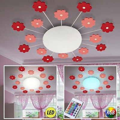 LED Ceiling Lamp RGB Remote Control Flowers Girl Children Room Light Dimmable