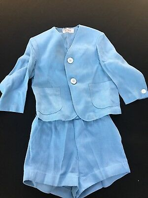 Vintage Penney's Blue Linen Toddler Boys Suit (Overall Shorts & Suit Coat)