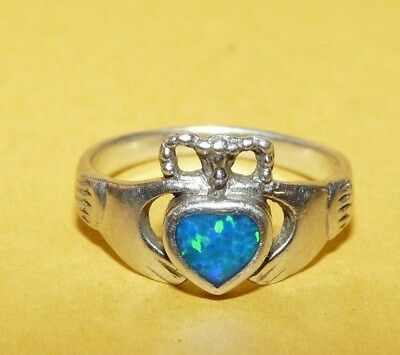 "Vtg~""925""~Sterling~Silver & Blue~Opal~Irish~Celtic~Ornate~""claddagh""~Ring~Size 6"