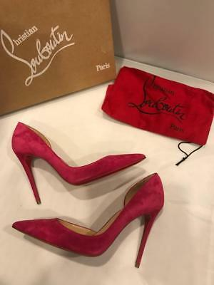 98a0fd434d4c Christian Louboutin IRIZA 100 Suede D Orsay Heels Pumps Shoes Rosa Pink  675