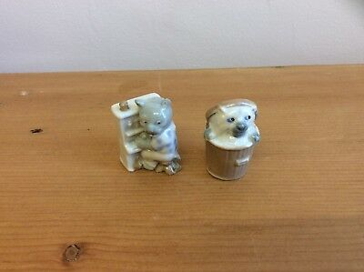 Vintage Rare Wade Whimsies Cat In Dustbin & Cat Playing Piano Figures