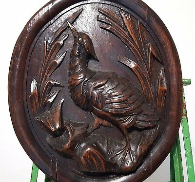 HAND CARVED WOOD PANEL ANTIQUE FRENCH HUNTING TROPHY CARVING SCULPTURE 19 th *