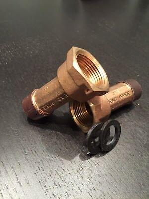 "PAIR 3/4"" Brass Water Meter Couplings, LEAD FREE, 3/4"" Swivel nut x 3/4 male NPT"