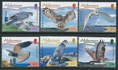2008 Alderney Resident Birds: Raptors Set Of 6 Fine Mint Mnh/muh