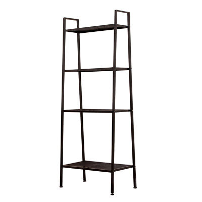 4-Tier Bookcase Bookshelf Leaning Wall Shelf Ladder Storage Display Furniture US
