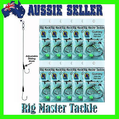 Gummy Adjustable/Slider Fishing Rigs 10-Pack 6/0 Circle Hooks Pre-Tied Rigs