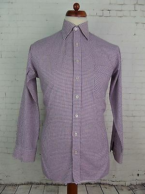 Vintage 1970s Long Sleeve Red  White Blue Check Shirt Mod Weller Indie -M- DV61