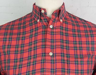 Vintage 1970s Red Tartan Check Button Down Shirt Mod Weller Skin -S- DV69