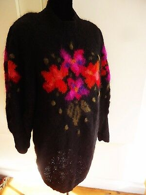 VINTAGE 1980s GILLY MOON ARTISAN HAND KNITTED  MOHAIR SWEATER-DRESS XXL