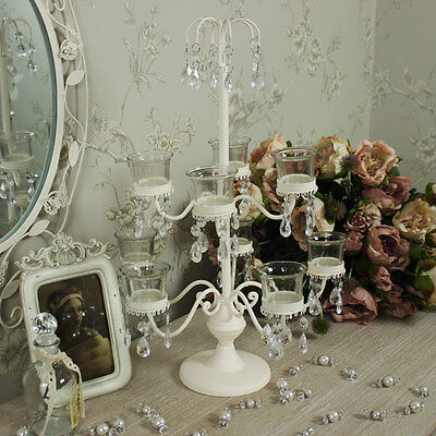 candle Holder cream candelabra shabby wedding chic cream jewel table centre