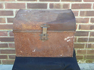 Vintage Industrial Metal Strongbox Tool Box Storage Box Planter Chest Trunk