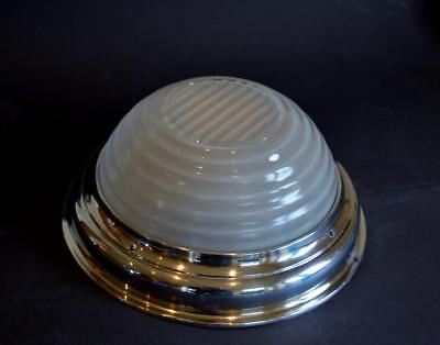 SUPERB LARGE STYLISH 1930s ART DECO STEPPED OPALESCENT GLASS CEILING LIGHT