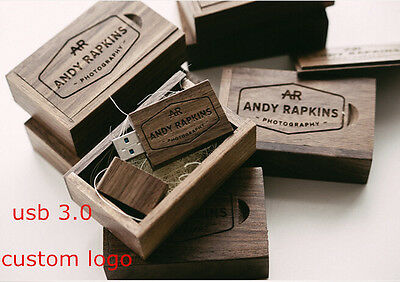 Walnut Wood USB 3.0 Flash Drive Engraved Custom Logo Photography Gift Pendrive