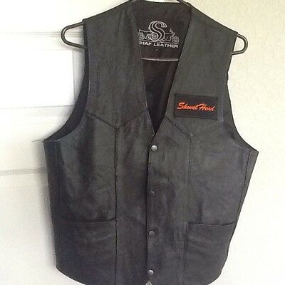 Black Leather Vest With Harley Davidson Patches 44