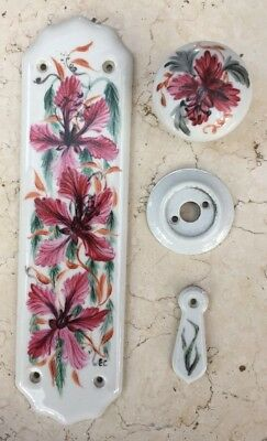 Vintage Door Knob, Key And Finger Plate - Ceramic Hand Painted Flowers