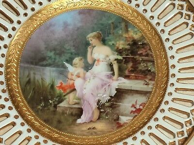 1900. Desden. Richard Klemm. Antique hand painted plate. Cupid and young woman.