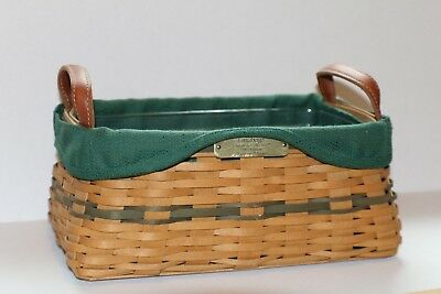 Longaberger 2002 Christmas Traditions Basket With Green Liner & Plastic Insert