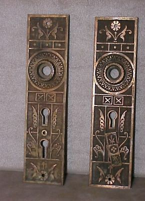 Antique vintage ORNATE Bronze DOOR PLATES for knobs backplates