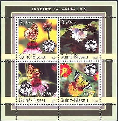 Guinea Bissau 2003 Butterflies/Scouts/Flowers/Insects/Nature 4v m/s (n10346)