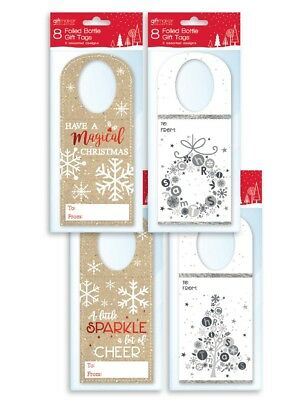 Pack Of 8 Christmas Bottle Gift Tags Wine Spirits Labels Assorted Designs XTNBOT