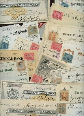 Collection 18 Old US Bank Checks~All w/ Revenue Stamps or Revenue Stamped Paper