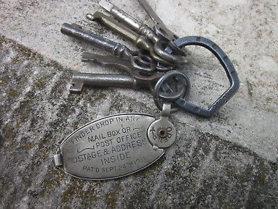 Vintage 1901 Key Return Tag Mechanical Postage Stamp Holder Skeleton Chain Depos