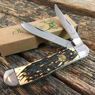 ELK RIDGE Brown Bone GENTLEMAN'S 2 Blade Folding Pocket Knife New! ER-220MIS-TU