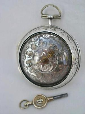 Fine Solid Silver Verge Fusee Gentleman's Repoussé Pair Case Pocket Watch.