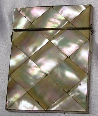 Antique Card Case Covered In Mother Of Pearl Panels, Used Condition