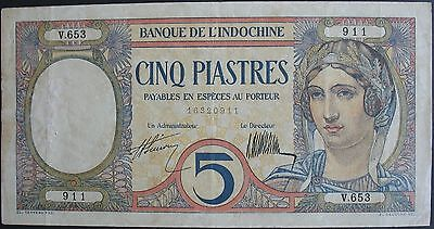 1927-31 French Indo-China 5 Piastres Note