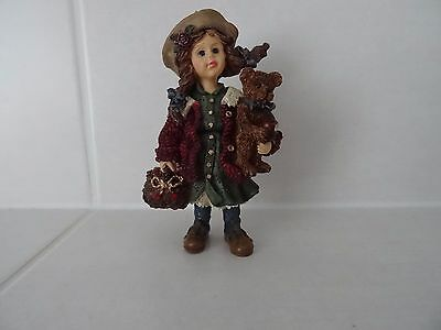Boyds Bears Cute Girl With Teddy Pristine Condition
