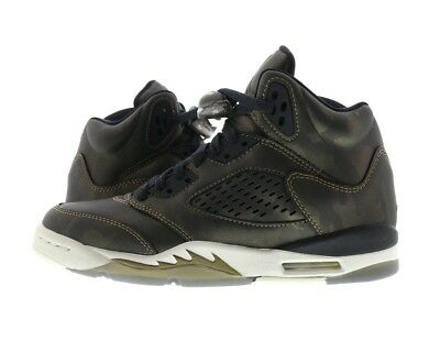 "Youth (GS) Jordan 5 Retro Premium Heiress ""Camo"" Black/Light Bone  919710-030"