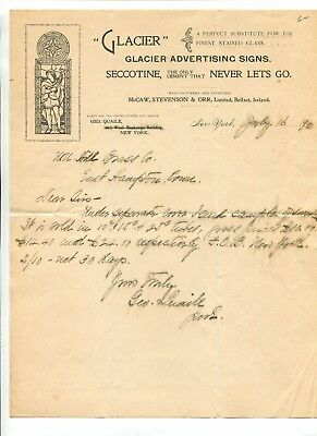 Vintage Illustrated Letterhead GLACIER ADVERTISING SIGNS NY 1890 Seccotine
