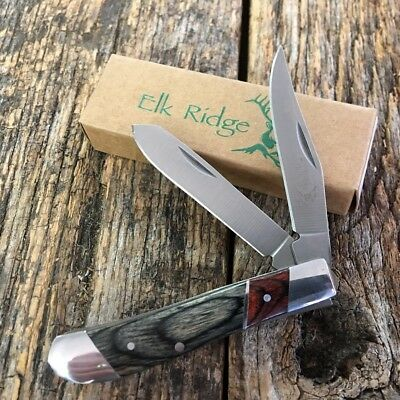 ELK RIDGE Wood Handle GENTLEMAN'S 2 Blade Folding Pocket Knife New! ER-220MMP-TU