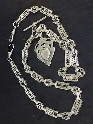 Solid Silver Double Albert Watch Chain Necklace + Fob 23inch 53g Stars And Bars