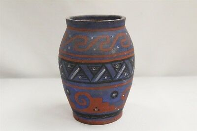 Art Deco Tlaquepaque Mexican Scroll Stairstep Blue Red Pottery Vase