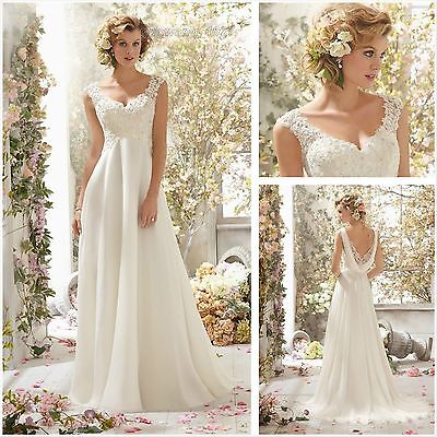 2017 New White/Ivory Chiffon Wedding Dress Bridal Gown Size 6 8 10 12 14 16++
