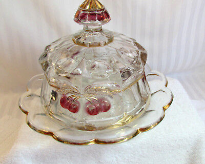 Antique Northwood Cherry Eapg Glass Butter Dish Thumb Print Design Vg Cond.
