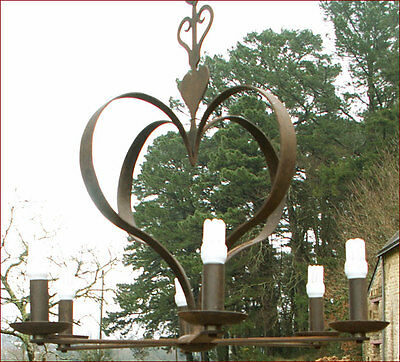 Vintage Set of Wrought Iron 6 Lights Chandelier and Sconces Heart 1960