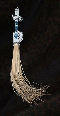 """Old or Antique African Fly Whisk with a Beaded Handle 24"""" Possibly Yoruba"""